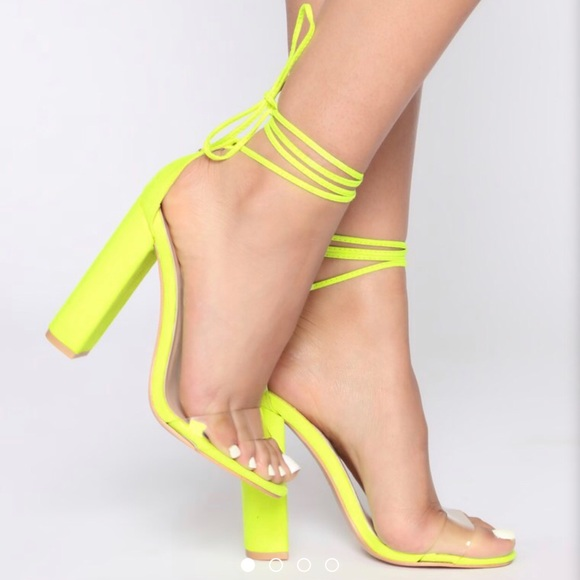 Shoes   Neon Yellowgreen Lace Up Heel